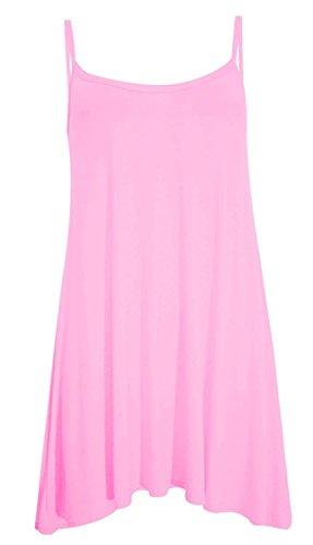 Chocolate Pickle ? Nouveau femmes Femmes plus Taille le Cami  bretelles Plaine Tops longue Robe trapze 36-54 Baby Pink