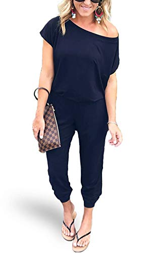 37e8bfb93 AMiERY Women's Sexy Off Shoulder Jumpsuit Solid Casual Elastic Waist Beam  Foot Jumpsuits Rompers Navy Blue XL