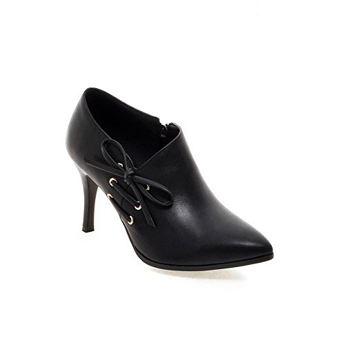 1TO9 Womens Spun Gold Bowknot Winkle Pinker Stiletto Imitated Leather Boots Black qk8QBnIfiA