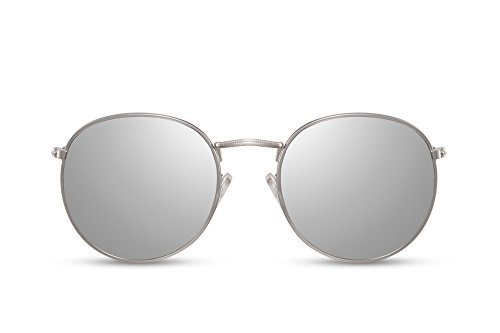 Sol Espejos de Hombre Lentes Mujer con Cheapass Redondas Metálicas Plateadas Gafas UV400 Yt5qwxwUE