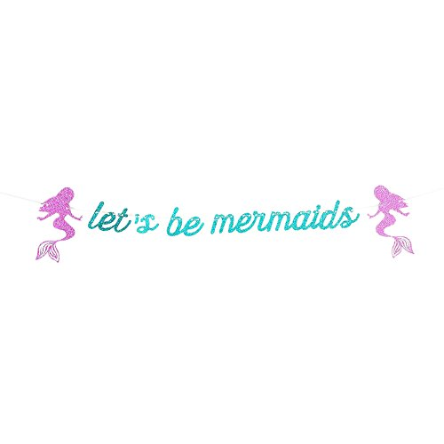 Lothver Mermaid Banner Bunting with Letters of Birthday Party Festival Holiday Streamer Decorations