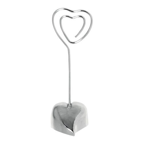 Contemporary Place Card Holders - Grasslands Road Loving Heart Place Card Holder, 3 by 1-Inch, Silver, Metal, 24-Pack
