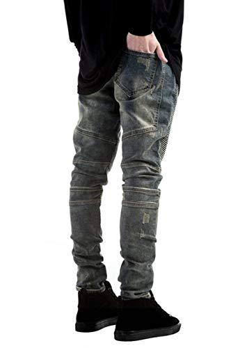 Jeans Vintage Strappati A Pieghe Pantaloni Stretch Denim Motociclista Gelb Casual Da Lavati In Uomo Slim Fit Iw4I7