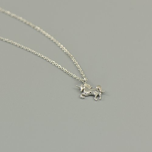 925 Sterling Silver Tiny Unicorn Charm Pendant Necklace 16