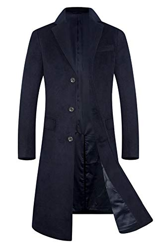(Men's Trench Coat Wool Blend French Long Jacket Business Top Coat Single Breasted 1801 Navy L)