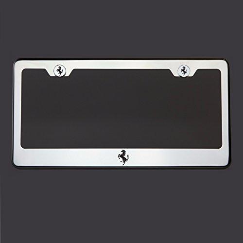 Black Lettering Laser Engraved Mirror Polish Stainless Steel Ferrari Logo License Plate Frame Holder Front Or Rear Bracket Steel Chrome Screw Cap ()