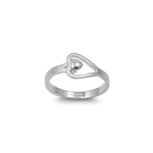 Noureda Sterling Silver Fancy Sideway Open Cut Heart Ring with Face Height of 9MM