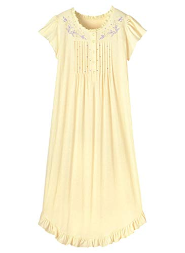 (AmeriMark Embroidered Knit Nightgown Yellow)