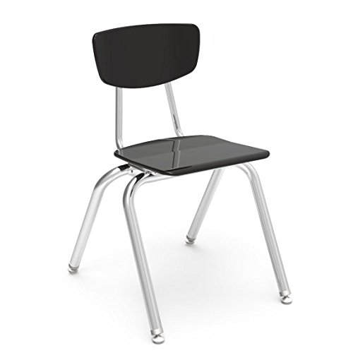Virco Student Chair, Black Hard Plastic Seat and Back, 16