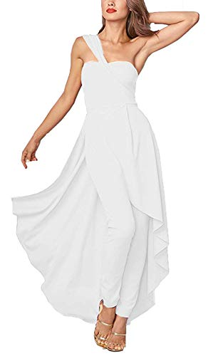 Playsuit One (LAMISSCHE Womens One Shoulder Overlay Backless Irregular High Low Long Party Pleated Maxi Playsuit Dress(White,XL))