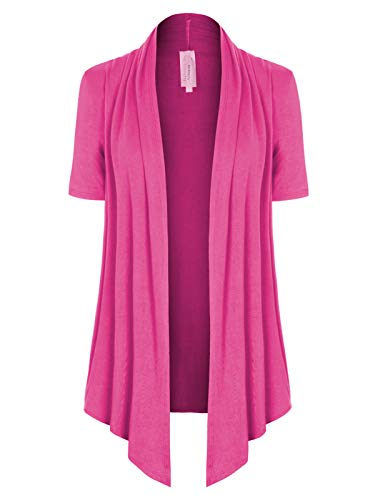 Lady Kimono Pink - MixMatchy Women's [Made in USA] Solid Jersey Knit Short Sleeve Open Front Draped Cardigan (S-3XL) Hot Pink M