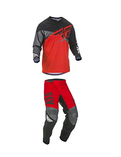 Fly Racing Youth F-16 Motocross Pants/Jersey Set Red/Black/Grey (22W Pants/Youth Medium Jersey)