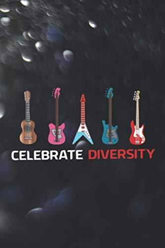 Celebrate Diversity: Blank Lined Notebook ( Guitar ) Lights