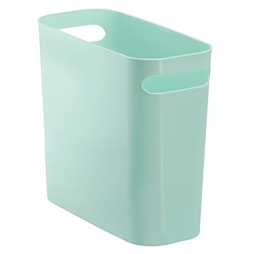 Kids Wastebaskets (mDesign Slim Rectangular Small Trash Can Wastebasket, Garbage Container Bin with Handles for Bathrooms, Kitchens, Home Offices, Dorms, Kids Rooms — 10