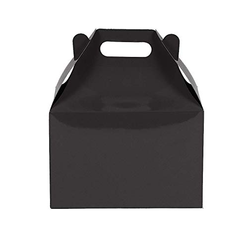 - 12CT (1 Dozen) Large Biodegradable Kraft/Craft Favor Treat Gable Boxes (Large, Black)