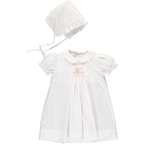 Carriage Boutique Baby Girls One Size Only Day Gown and Hat - Carriage Smocking - White, Newborn