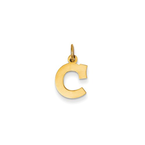 14k Gold Block - 14k Yellow Gold, Amanda Collection, Small Block Initial C Pendant