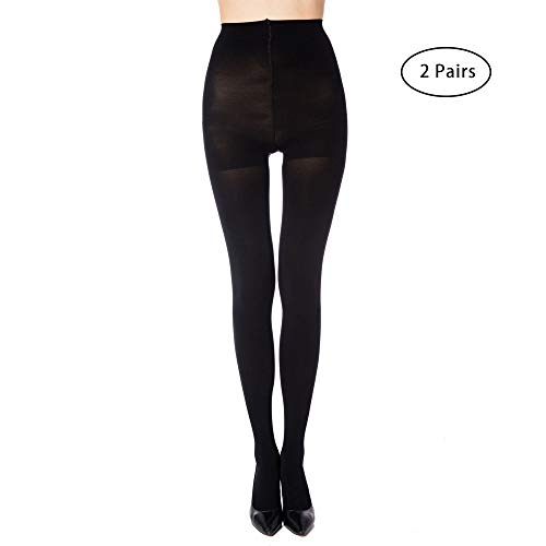 MANZI 2 Pairs Women's Run Resistant Control Top Panty Hose Opaque Tights(Large,Black) ()