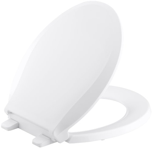 KOHLER K-4639-0 Cachet Quiet-Close with Grip-Tight Bumpers Round-front Toilet Seat, White (Plastic Seat Toilet)
