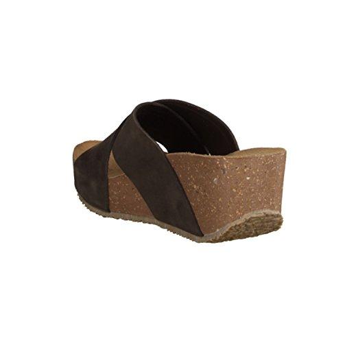 Bionatura 24A732- Damenschuhe Pantolette / Zehentrenner, Braun, leder (nabuk), absatzhöhe: 50 mm