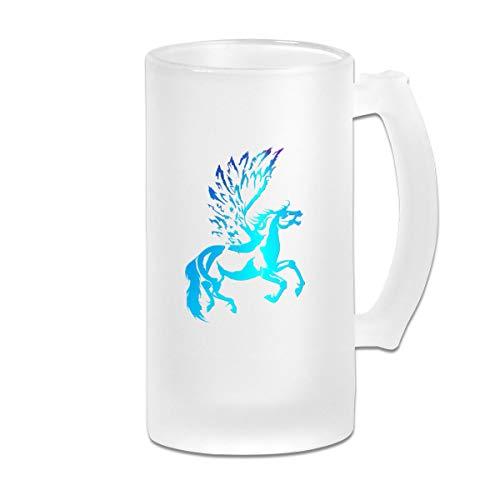 Poii Qon Blue Pegasus 16 Oz Frosted Glass Stein Wine Beer Mug ()