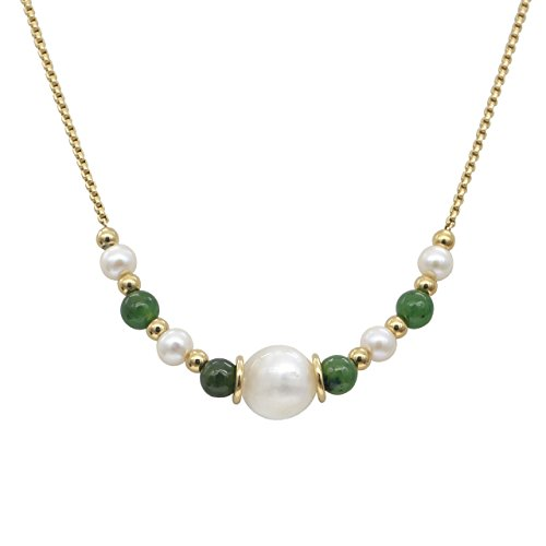 Stellia Glamour Pearl and Jade Necklace 24K Gold Chain ()