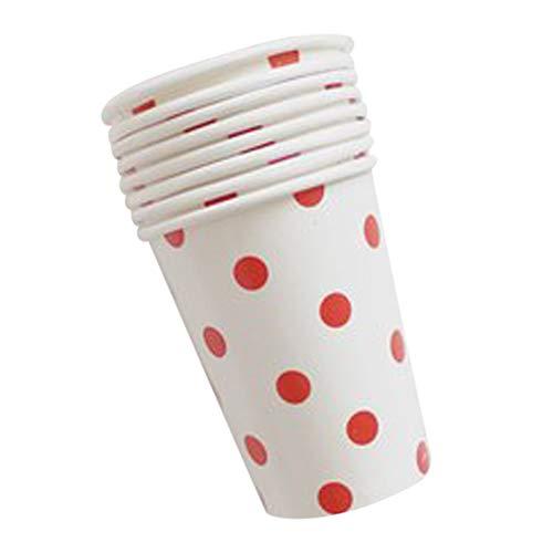 BONFASH 12Pcs Papier Cups (9.5oz) Polka Dot Farben Geburtstag Party Catering Geschirr