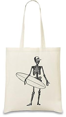 Skeleton surfer Custom Printed Tote Bag| 100%