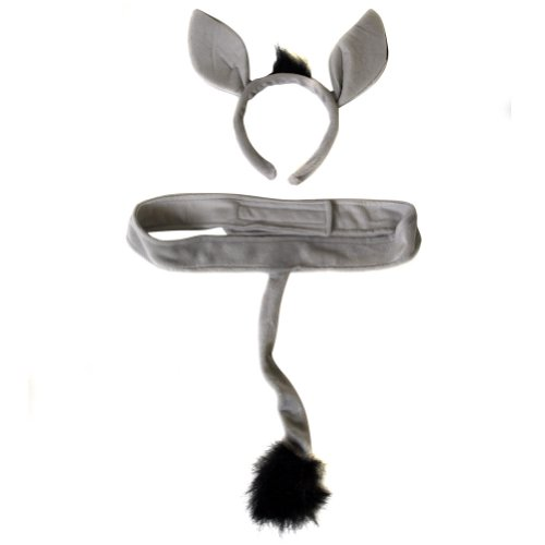 Plush Donkey Headband Ears and Tail Costume Set -