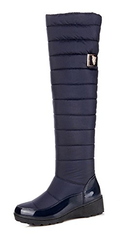Aisun Women's Warm Comfort Round Toe Dress Slip On Wedge Platform Low Heels Knee High Snow Tall Boots Shoes Black 8 B(M) US by Aisun
