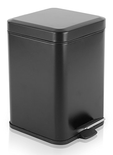 BINO Stainless Steel 1.6 Gallon / 6 Liter Square Step Trash Can, Matte Black (Step Trash Can Black compare prices)