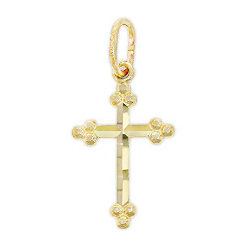 Charm America - Gold Baby Diamond Cut Cross - 10 Karat Solid Gold - Nickel Free ()