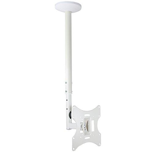 White TV Ceiling Bracket Mount Tilt Swivel for most 23 26 32 40 42 inch...