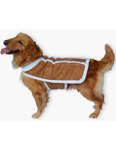 Dog Coat Suede Faux (MAZORT Shearling Fleece Suede Pet Dog Winter Coat Vest for Small Medium Large Dogs Brown XL)