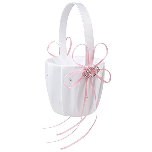 SODIAL(R) Double Heart Wedding Flower Girl Basket White Satin Rhinestone Decor Pink Wedding Party Favor