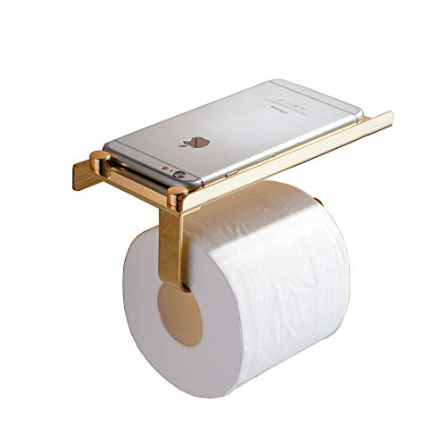 Beelee SUS 304 Stainless Steel Wall Mount Toilet Paper Holder, SUS304 Stainless Steel Bathroom Tissue Holder with Mobile Phone Storage Shelf, Golden