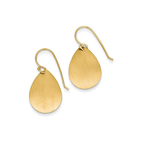 Roy Rose Jewelry 14K Yellow Gold Satin Teardrop Disc Earrings