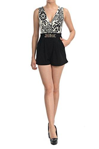 Women's V-Neck Print Sleeveless Short Pants Jumpsuit Romper Paisley B&W - Women's Clothing Suits