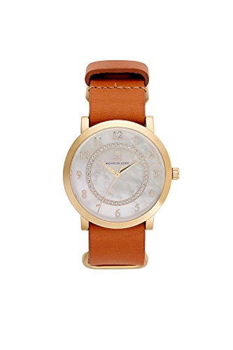 Mop Square Dial (Washington Square Watch: Ladies Stainless Steel,Cream MOP dial,Gold Plating&tan NATO Strap.Model 71735)