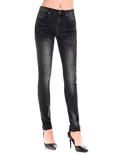 HONTOUTE Skinny Jeans for Women Butt Lift High Waisted Dark Slim Strech Yoga Denim Pants Dark Grey 6 (Grey Leggings Denim)