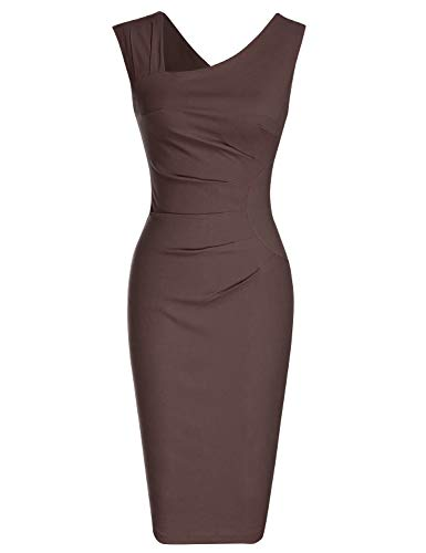 MUXXN Women's Elegant Asymmetrical Neckline Knee Length Wedding Brown Pencil Dress (Brown S)