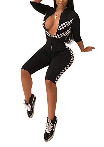 Black Racer Jumpsuit - Bluewolfsea Women's Sexy Club Outfits Front Zipper Bodycon Race Checker Panel Cropped Jumpsuit Playsuit Romper X-Large Black