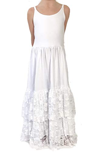 Jennifer and June White Lace Tiered Boutique Boho Long Maxi Dress for Toddlers and Girls. (4T)
