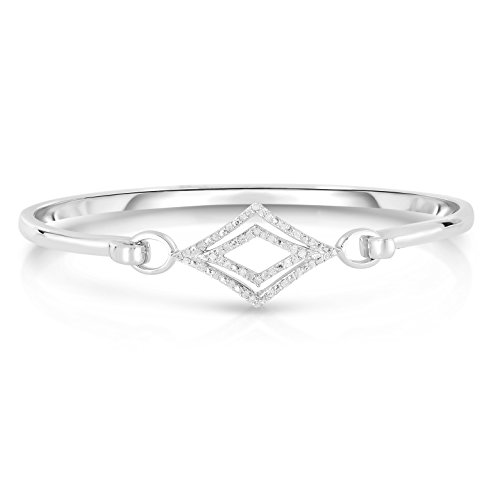 - NATALIA DRAKE Blowout Sale Sterling Silver 1/4ctw Diamond Modern Double Row Square Bangle Bracelet with Safety Lock
