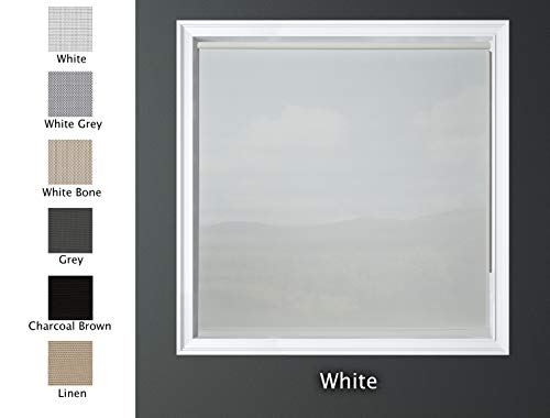 Luxr Blinds Custom-Made Solar Light Filtering Roller Window Shades 1% Transparency Indoor, Outdoor Size 46