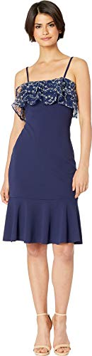 bebe Womens Embellished Ruffle Flounce Midi Dress Navy 4