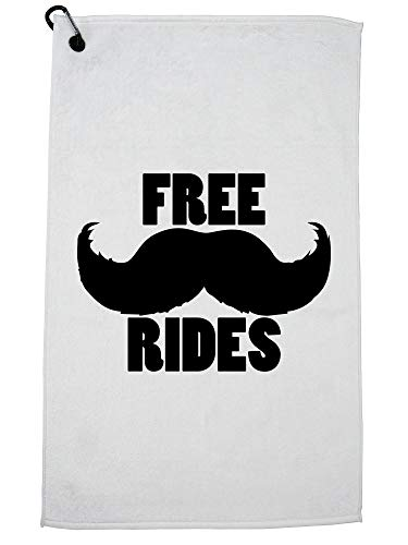 Hollywood Thread Free Mustache Rides - Funny Popular Golf Towel Carabiner Clip