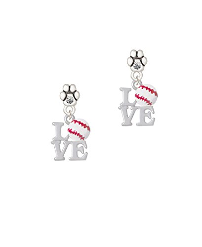 (Love with Baseball - Clear Crystal Paw Earrings)