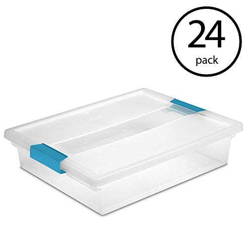 STERILITE Large File Clip Box Clear Storage Tote Container w/Lid (24 Pack) ()