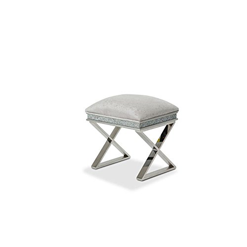 Aico Amini Melrose Plaza Vanity Bench in Dove Grey by Aico Amini